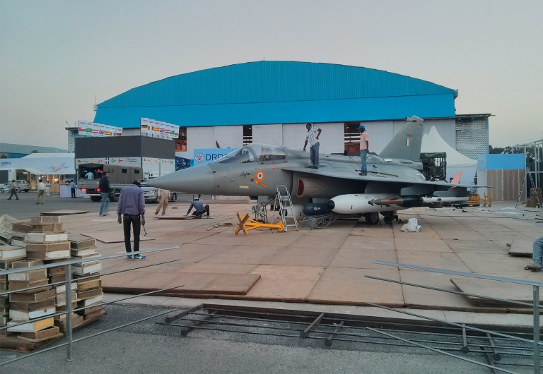 In front of Hall C is HAL's Fully-Loaded Tejas LCA TD-2 KH-2002